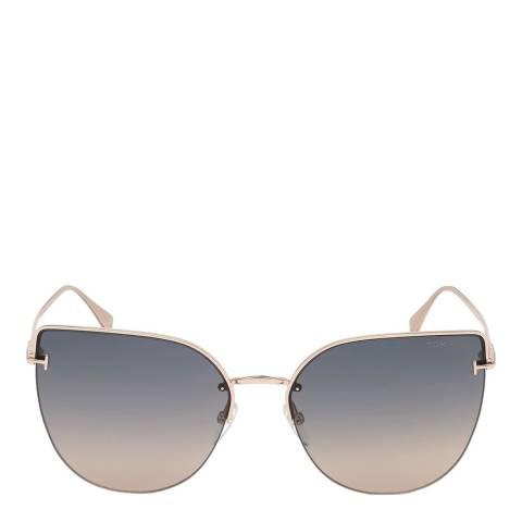 Tom Ford Women's Shiny Rose Gold/Smoke Tom Ford Sunglasses 60mm