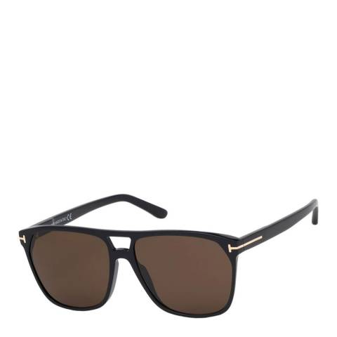 Tom Ford Men's Shiny Black/Brown Tom Ford Sunglasses 59mm