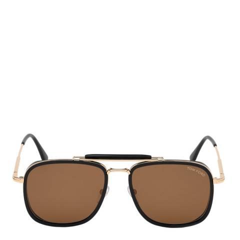 Tom Ford Men's Shiny Black/Brown Tom Ford Sunglasses 58mm
