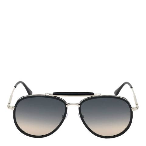 Tom Ford Men's Black and Silver/Blue Tom Ford Sunglasses 60mm