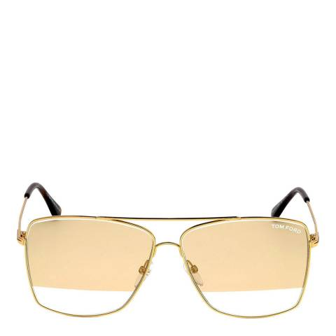 Tom Ford Men's Gold/Gold with Clear Stripe Tom Ford Sunglasses 60mm