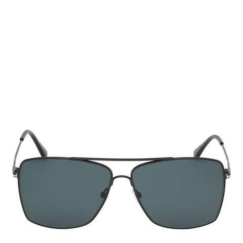 Tom Ford Men's Shiny Black/Blue Tom Ford Sunglasses 60mm