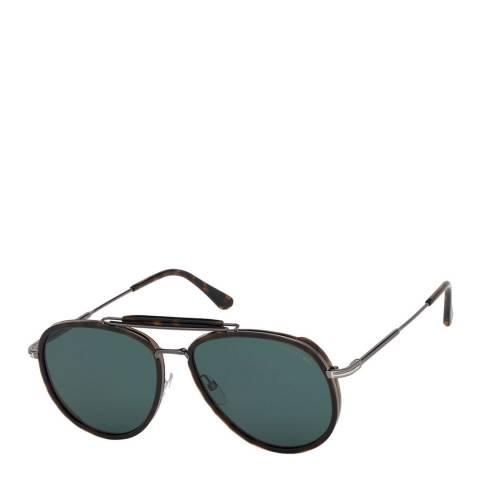Tom Ford Men's Dark Havana/Green Tom Ford Sunglasses 60mm