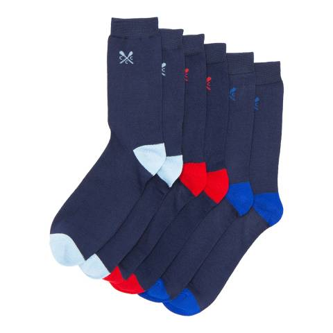 Crew Clothing Navy 3 Pack Solid Heel Sock