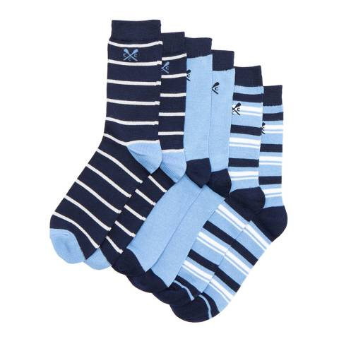 Crew Clothing Alaskan Blue 3 Pack Stripe Socks