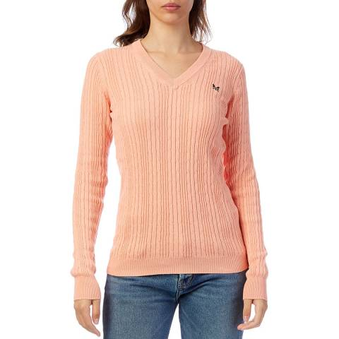 Crew Clothing Salmon Cotton Cable V Neck Jumper