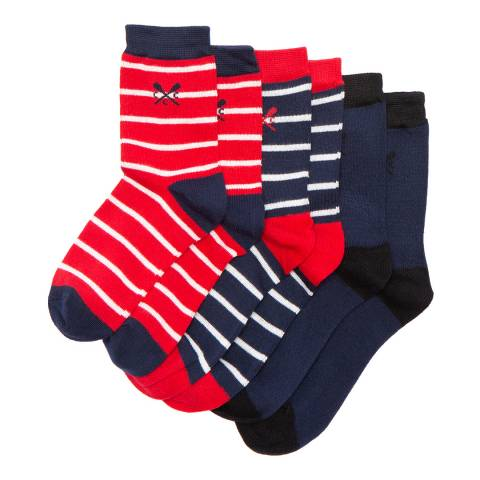 Crew Clothing Striped 3 PK Socks