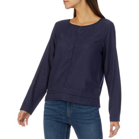 Crew Clothing Navy Lace Insert Blouse