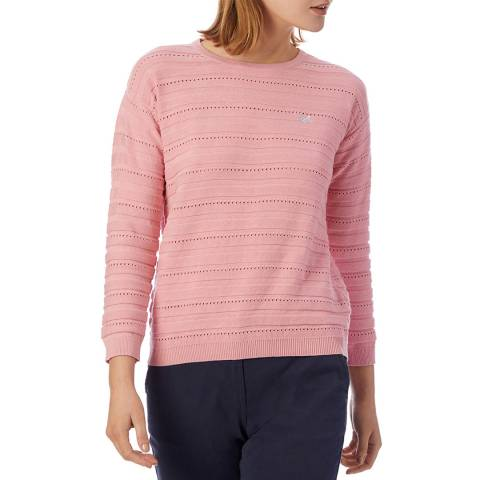 Crew Clothing Pink Pointelle Knit