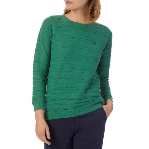 Crew Clothing Green Knitted Cotton Jumper