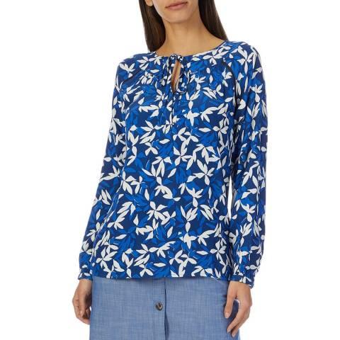 Crew Clothing Blue Lace Up Cotton Blouse