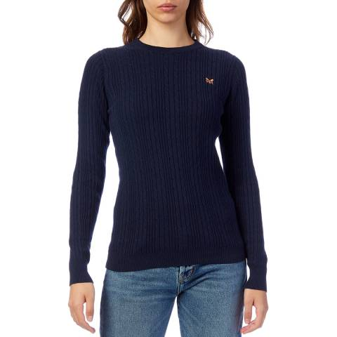 Crew Clothing Navy Cotton Cable Knit Jumper
