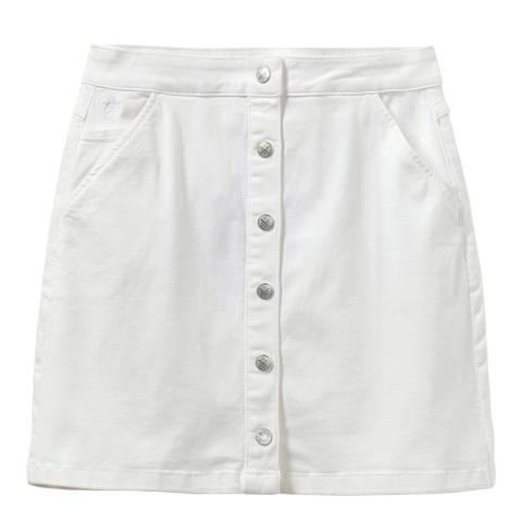 Crew Clothing White Cotton Denim Skirt