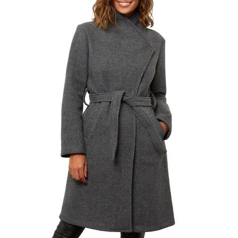 Comptoir du Manteau Grey Wool Blend Wrap Coat