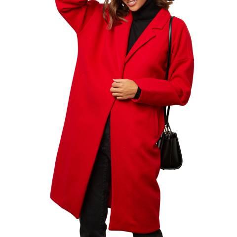 Comptoir du Manteau Red Wool Blend Midi Coat