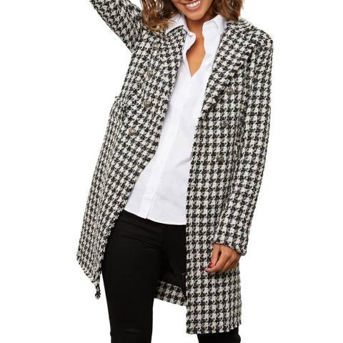 Comptoir du Manteau Black Wool Blend Dogtooth Coat