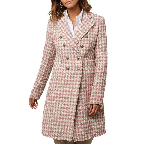 Comptoir du Manteau Pink Wool Blend Dogtooth Coat