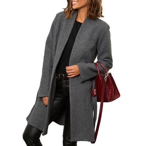 Comptoir du Manteau Grey Wool Blend Straight Coat