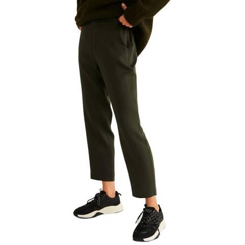 Mango Khaki Drawstring Waist Straight Trousers