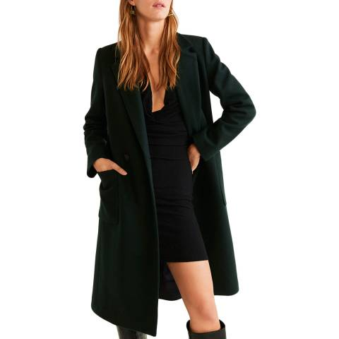 Mango Dark Green Lapels Wool Coat