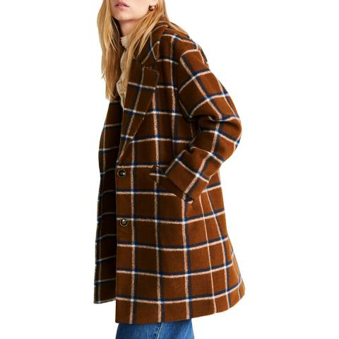 Mango Brown Checked Lapels Coat