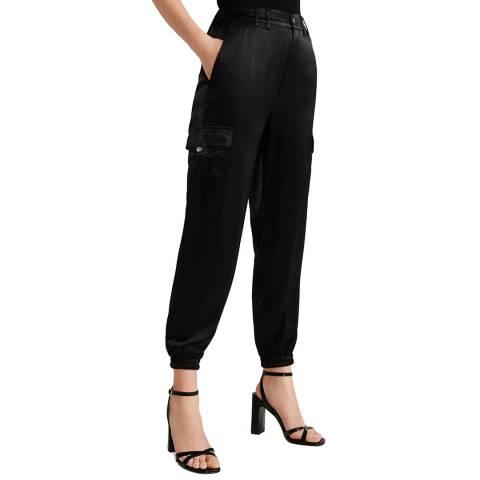Mango Black Satin Cargo Trousers