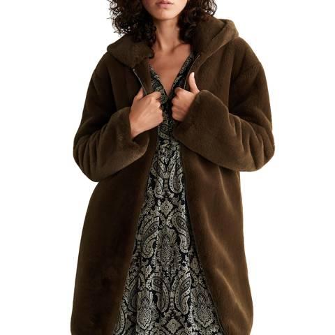 Mango Brown Hooded Faux-Fur Coat