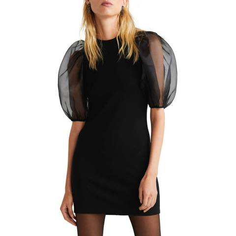 Mango Black Organza Puffed Sleeves Dress