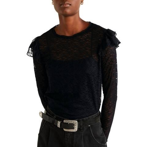 Mango Black Ruffled Lace T-Shirt