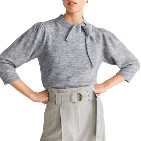 Mango Grey Bow Knit Jumper