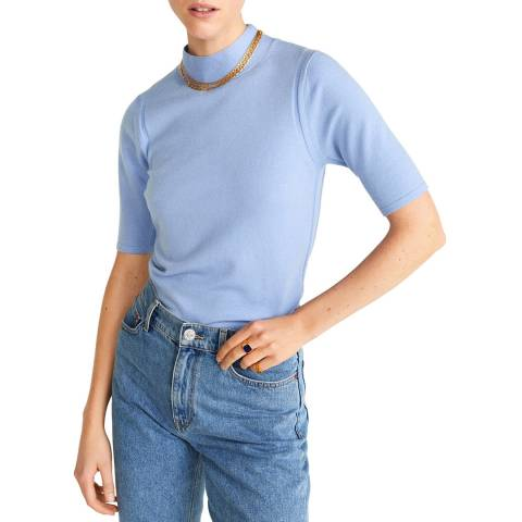 Mango Sky Blue High Collar Wool Jumper