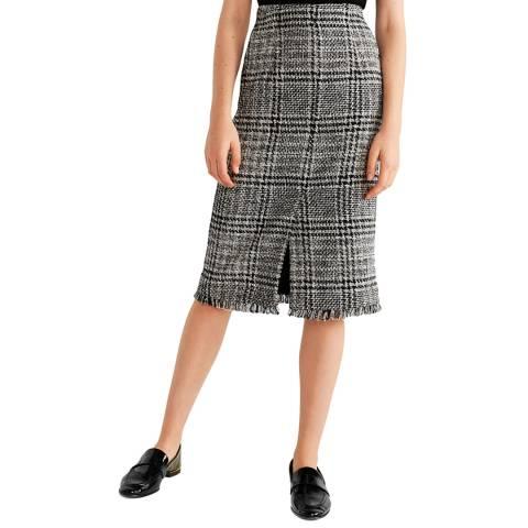 Mango Black Tweed Midi Skirt