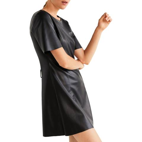 Mango Black Drawstring Waist Dress