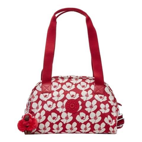 Kipling Red Bold Flower Havi Medium Bag