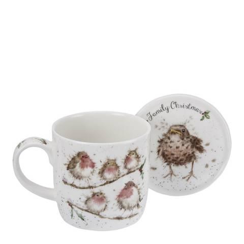 Royal Worcester Family Christmas (Birds) Mug and Coaster Set