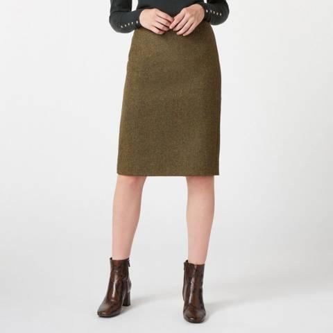 Hobbs London Khaki Linda Wool Skirt