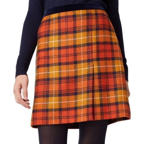 Hobbs London Orange Check Christine Wool Skirt