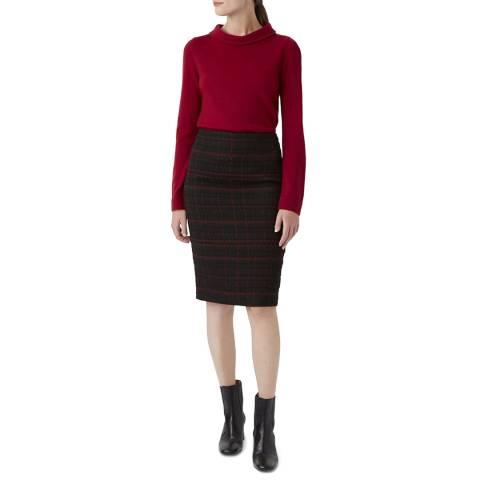 Hobbs London Black Check Mila Wool Blend Skirt