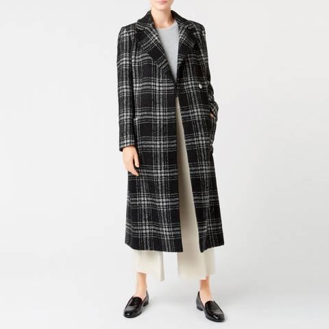Hobbs London Black/Ivory Florina Wool Blend Coat