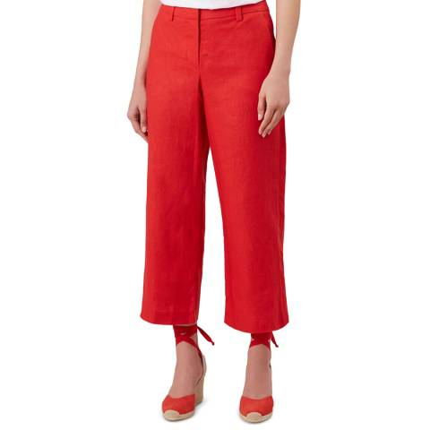 Hobbs London Red Nicole Cropped Linen Trousers