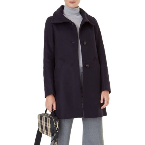 Hobbs London Navy Ramona Wool Blend Coat