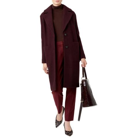 Hobbs London Deep Red Wool Blend Rani Coat