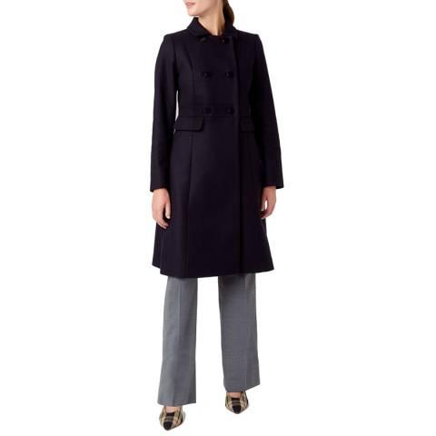 Hobbs London Navy Corrine Wool Blend Coat