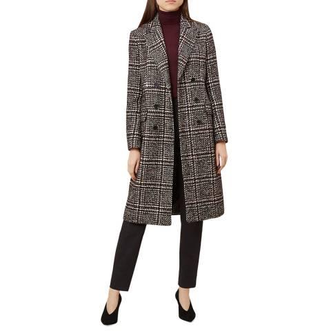 Hobbs London Multi Check Evalyn Wool Blend Coat
