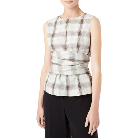 Hobbs London Mint Check Anika Line Blend Top