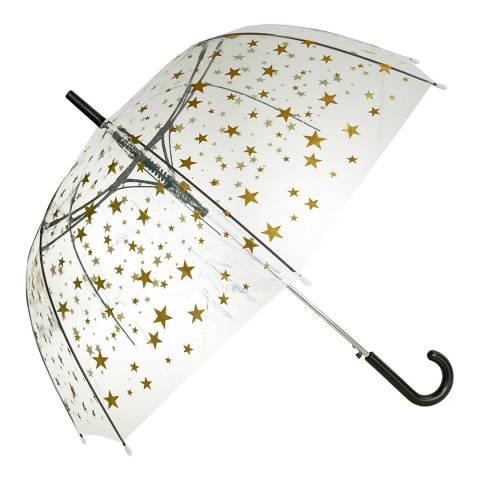 Blooms of London Transparent / Gold Star Birdcage Umbrella