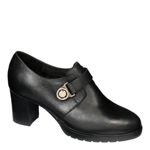 Scholl Black Leather Varen Heeled Bootie