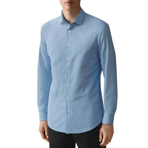 Thomas Pink Blue Relaxed Fit Linen Shirt