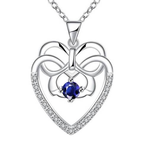 Ma Petite Amie Silver Plated/Blue Heart Necklace