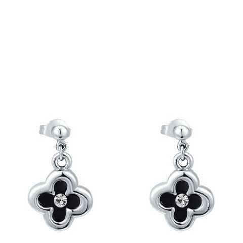 Ma Petite Amie Silver Plated/Black Flower Stud Earrings